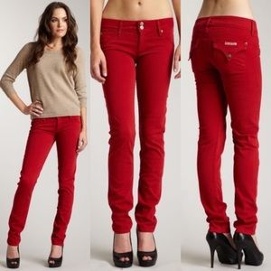 Hudson Collin Flap Skinny Jeans Red